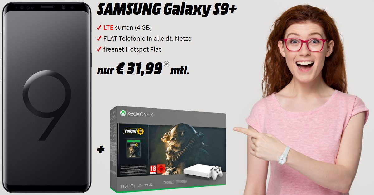 Galaxy S9 Plus mit Xbox One X Bundle und 4 GB LTE Allnet-Flat