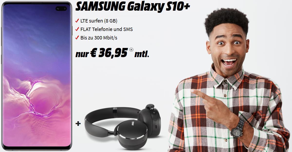 Galaxy S10 Plus Handyvertrag inkl. AKG Y500 und 8 GB LTE Allnet-Flat