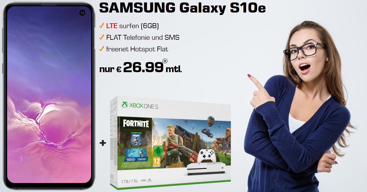 Galaxy S10e mit Xbox One S Fortnite-Bundle und 6 GB LTE Allnet-Flat Handyvertrag