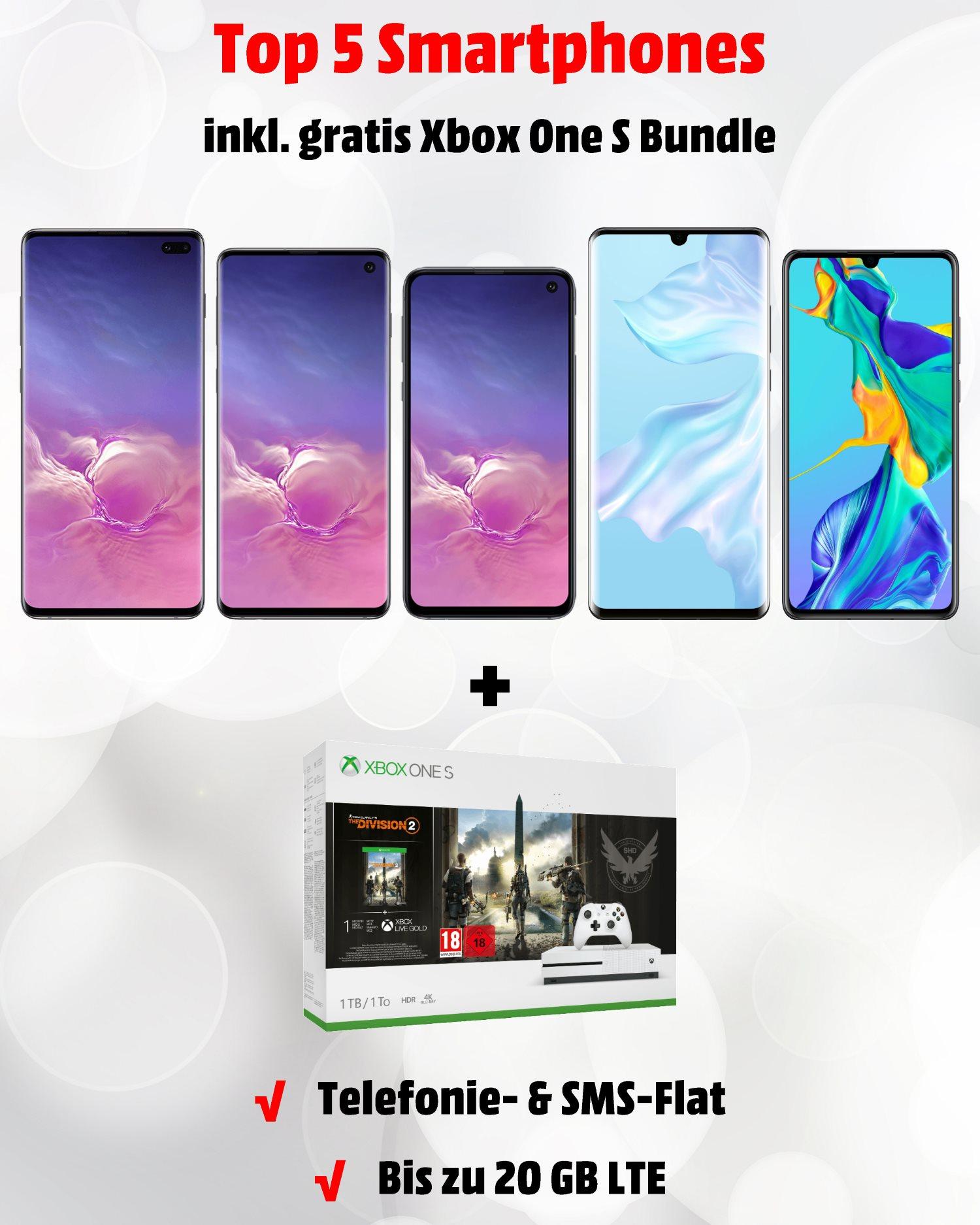 Die besten Handytarife - Samsung Galaxy S10 und Huawei P30 Pro mit Xbox One S Bundle