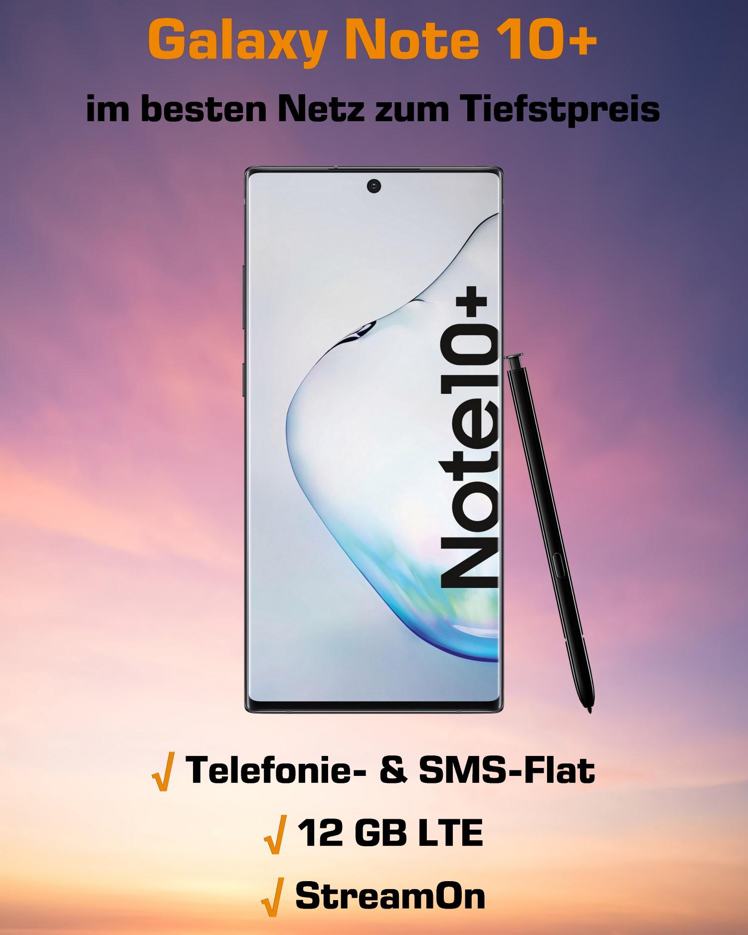 Galaxy Note 10 Plus Handyvertrag im besten D-Netz zum Tiefstpreis