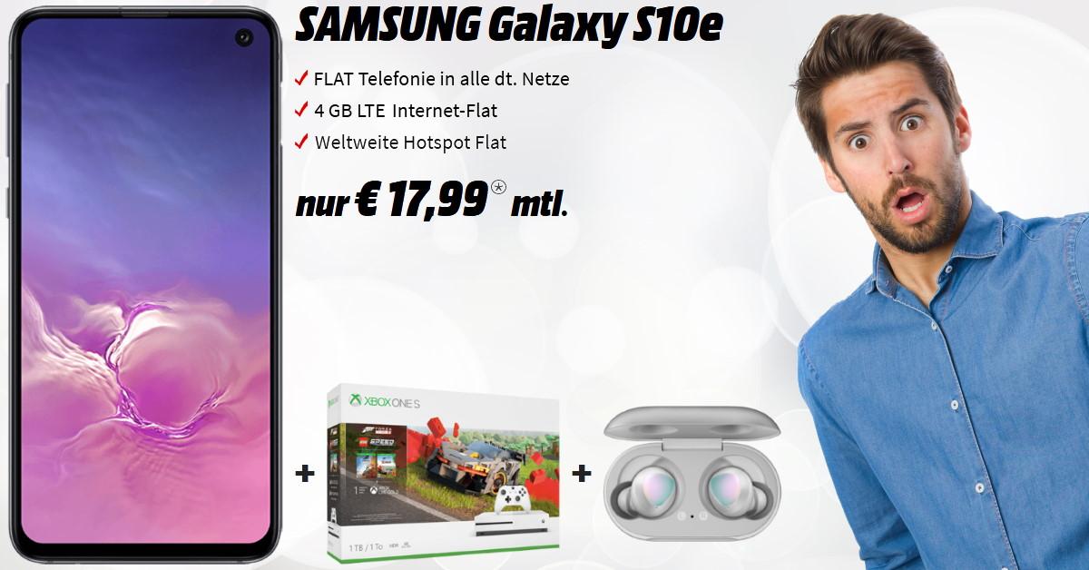 Galaxy S10e mit Xbox One S Bundle, Galaxy Buds und 4 GB LTE Allnet-Flat zum absoluten Tiefstpreis