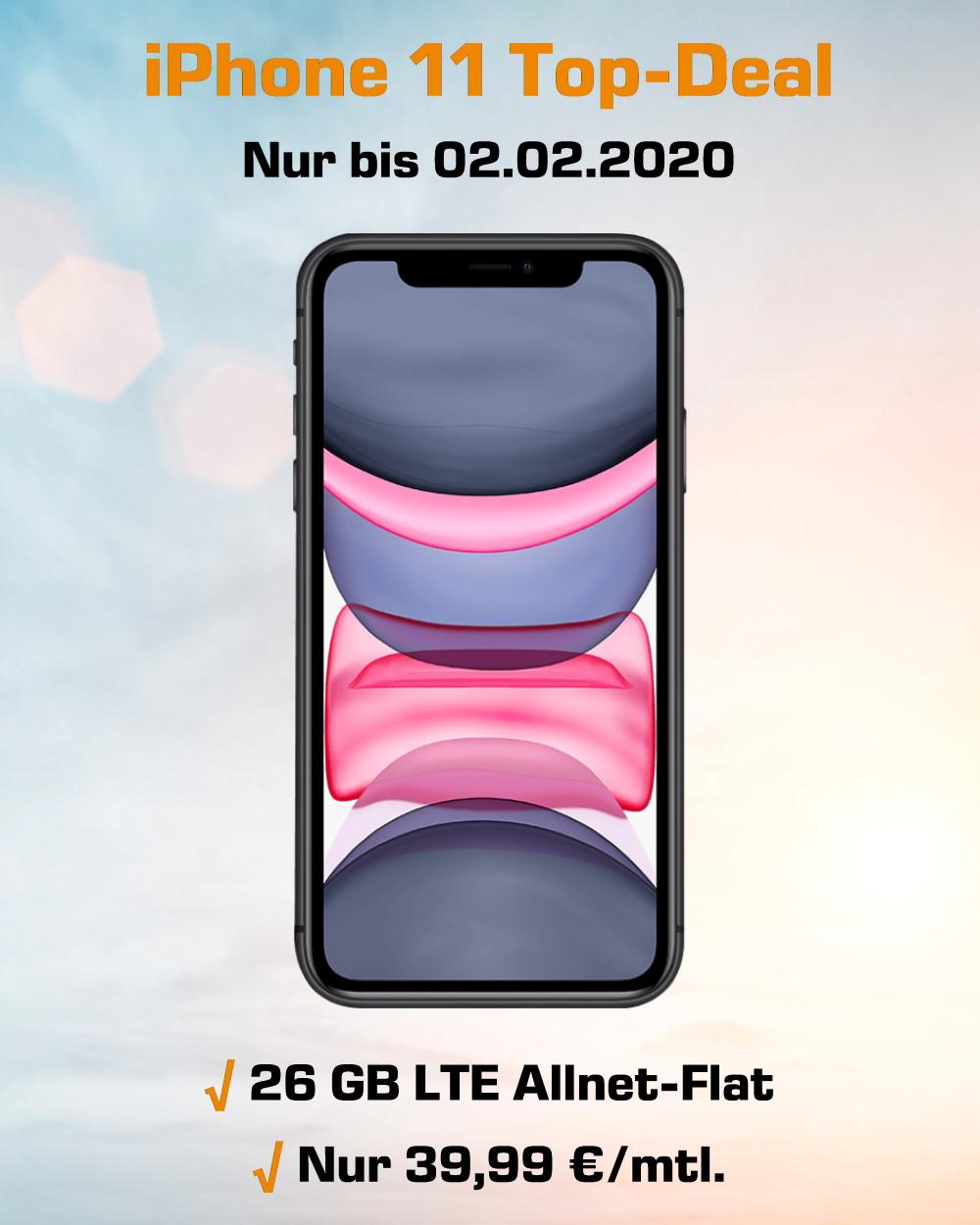 iPhone 11 Handyvertrag mit 26 GB LTE Allnet-Flat zum Mega-Tiefpreis
