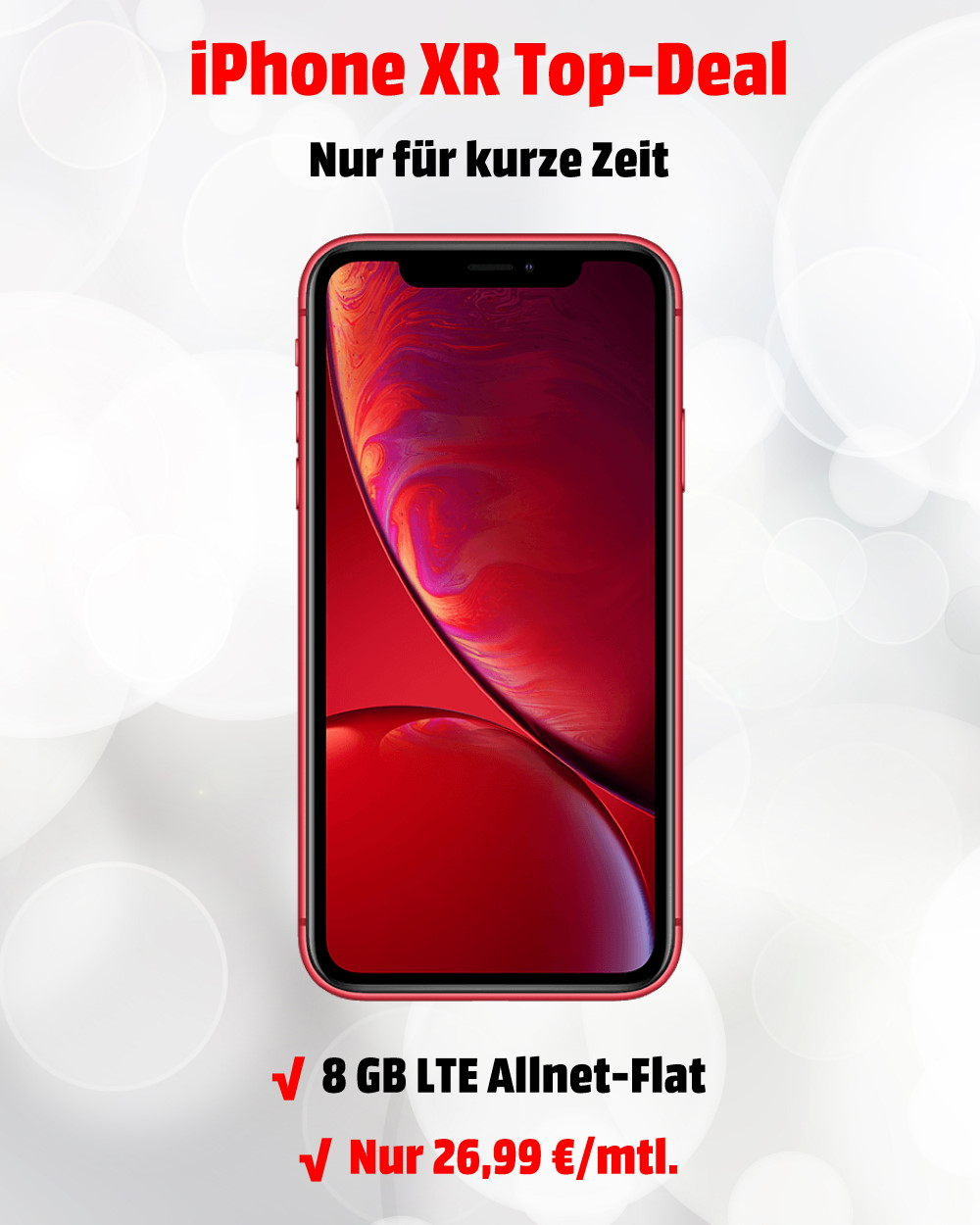 iPhone XR (RED-Edition) mit 8 GB LTE Allnet-Flat zum absoluten Tiefstpreis