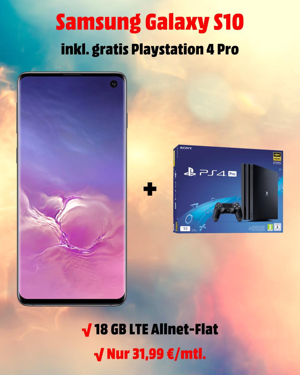 Die besten Handytarife Galaxy S10 inkl. Playstation 4 Pro und 18 GB LTE Allnet-Flat zum absoluten Tiefstpreis