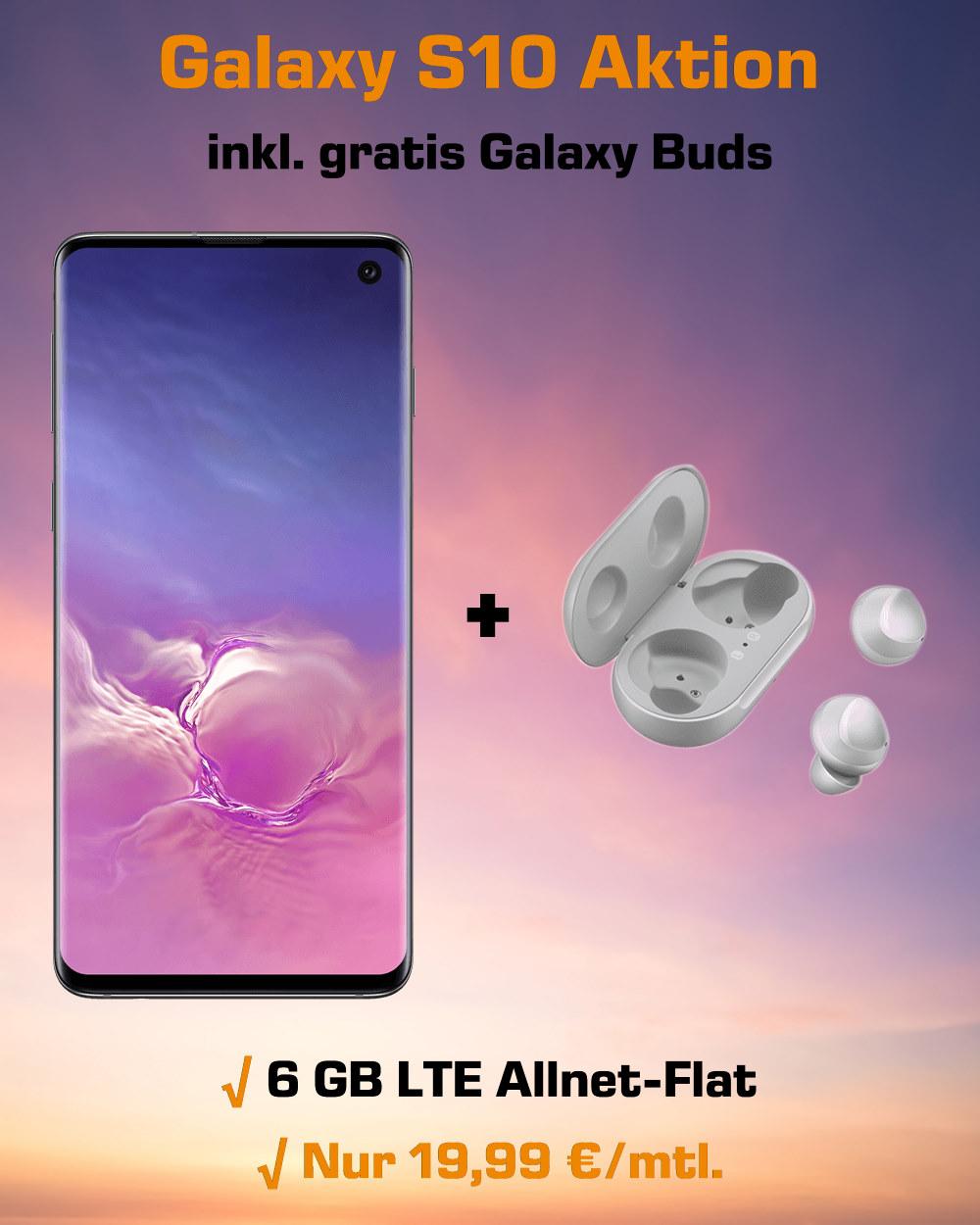 Galaxy S10 inkl. gratis Galaxy Buds und 6 GB LTE zum absoluten Bestpreis
