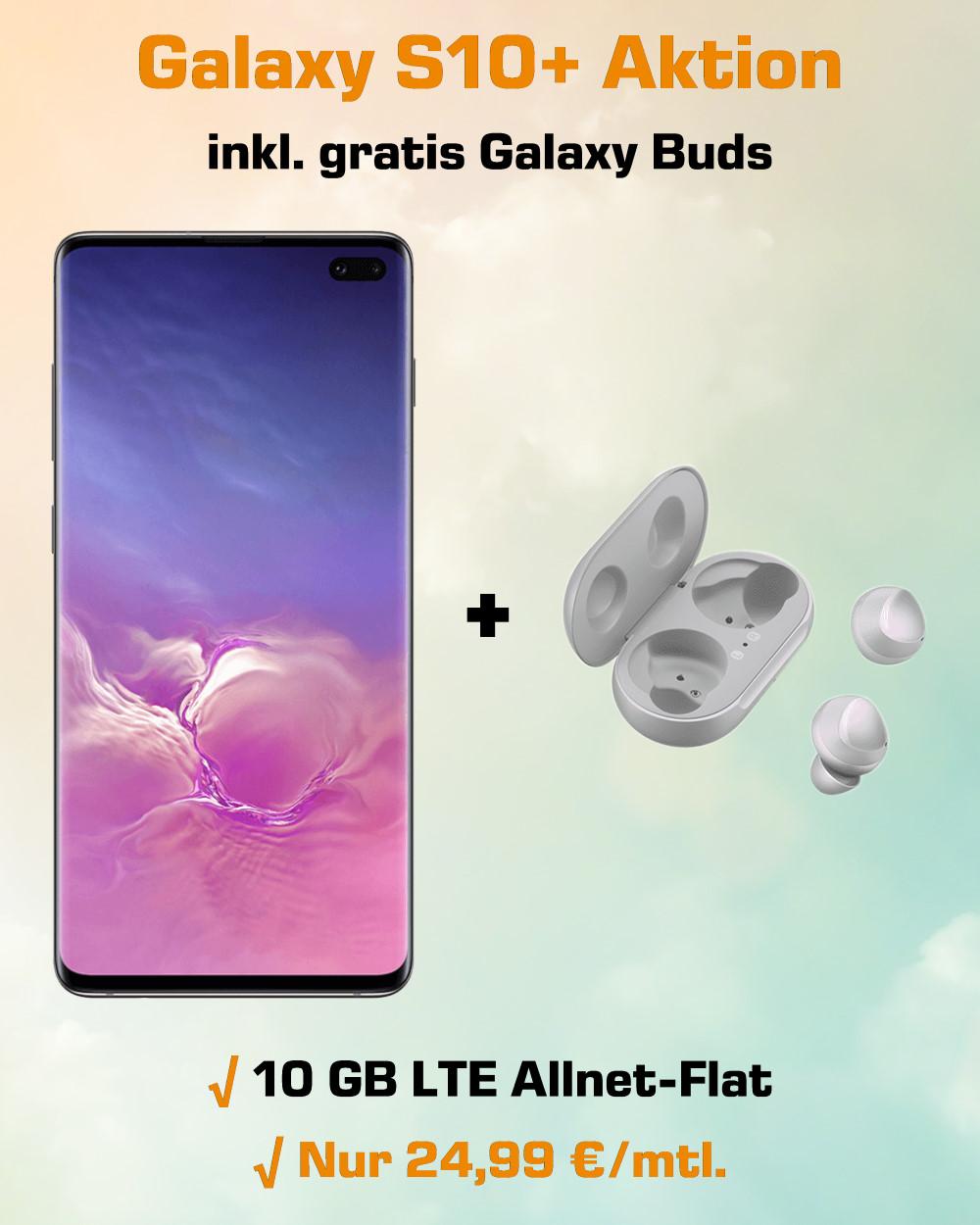 Handy-Tarifvergleich Galaxy S10+ inkl. gratis Galaxy Buds und 10 GB LTE