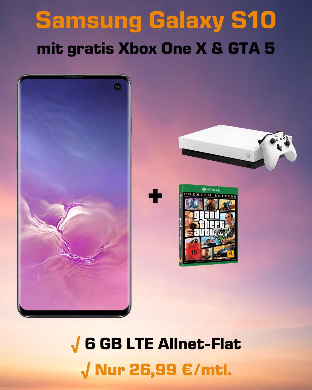 Galaxy S10 inkl. Xbox One X, GTA 5 und 6 GB LTE zum absoluten Tiefstpreis