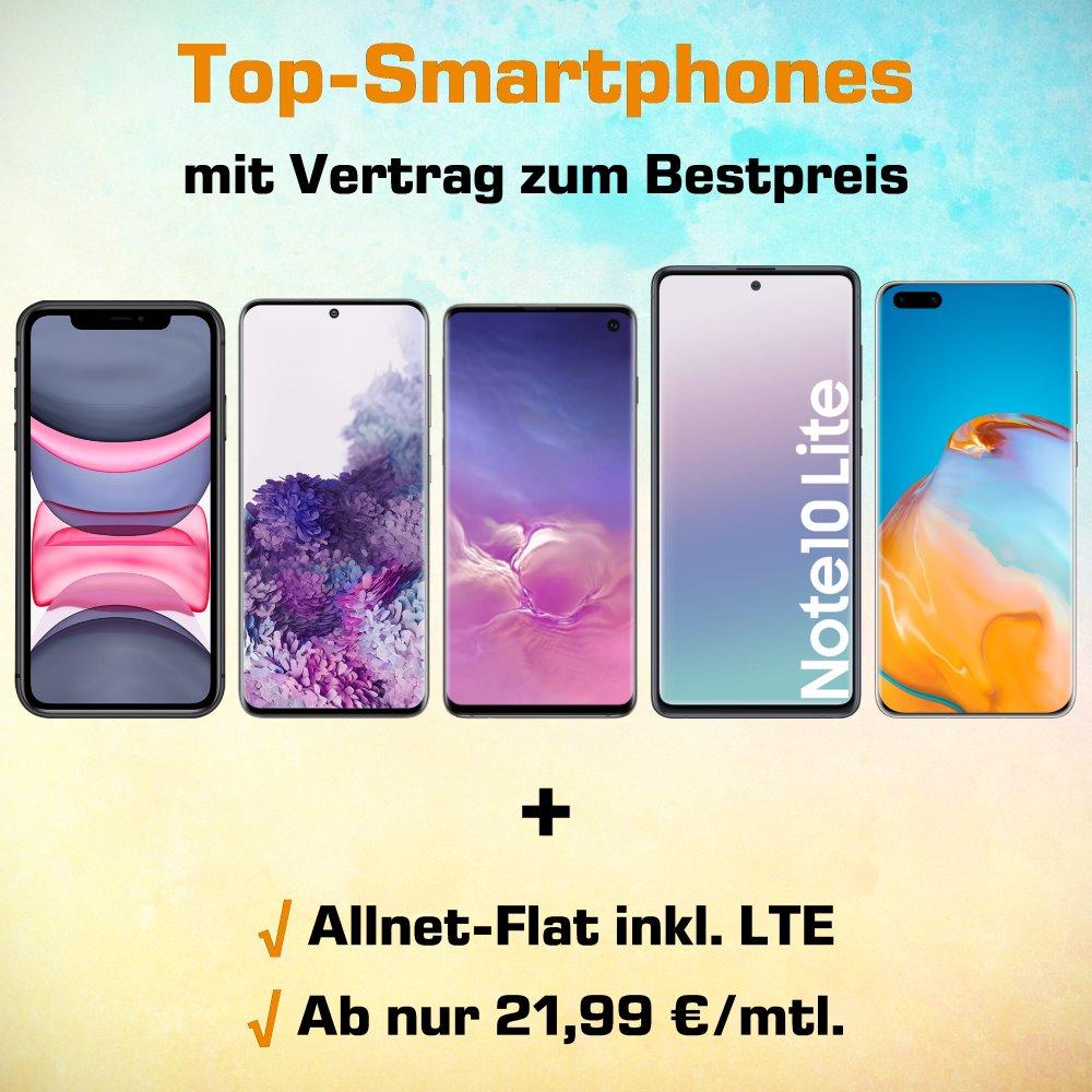 Top-Smartphones von Apple, Samsung und Huawei mit Handyvertrag zum Bestpreis