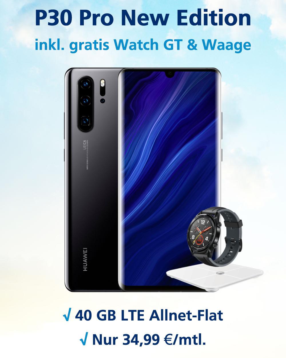 P30 Pro New Edition Handyvertrag mit Huawei Watch GT, Waage und 40 GB LTE Allnet-Flat