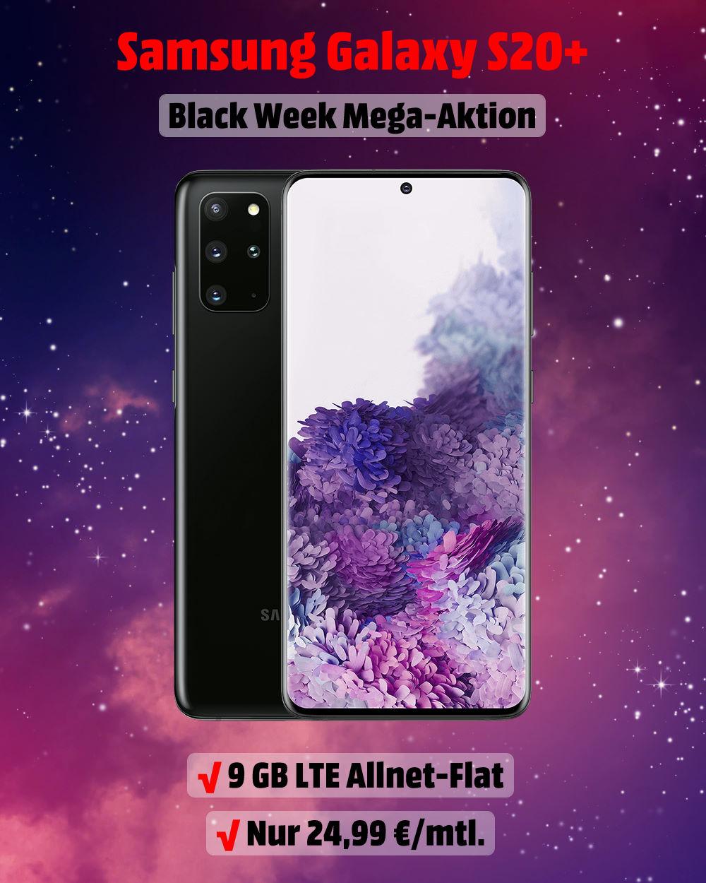 Samsung Galaxy S20 Plus mit 9 GB LTE Allnet-Flat Handyvertrag - Black Week Aktion