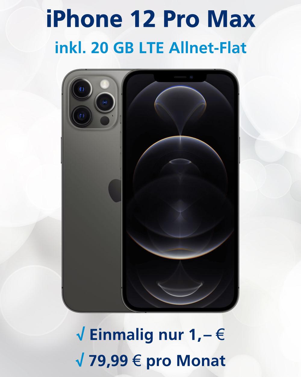 iPhone 12 Pro Max Handyvertrag inkl. 20 GB LTE für einmalig nur 1 Euro und monatlich 79,99 Euro