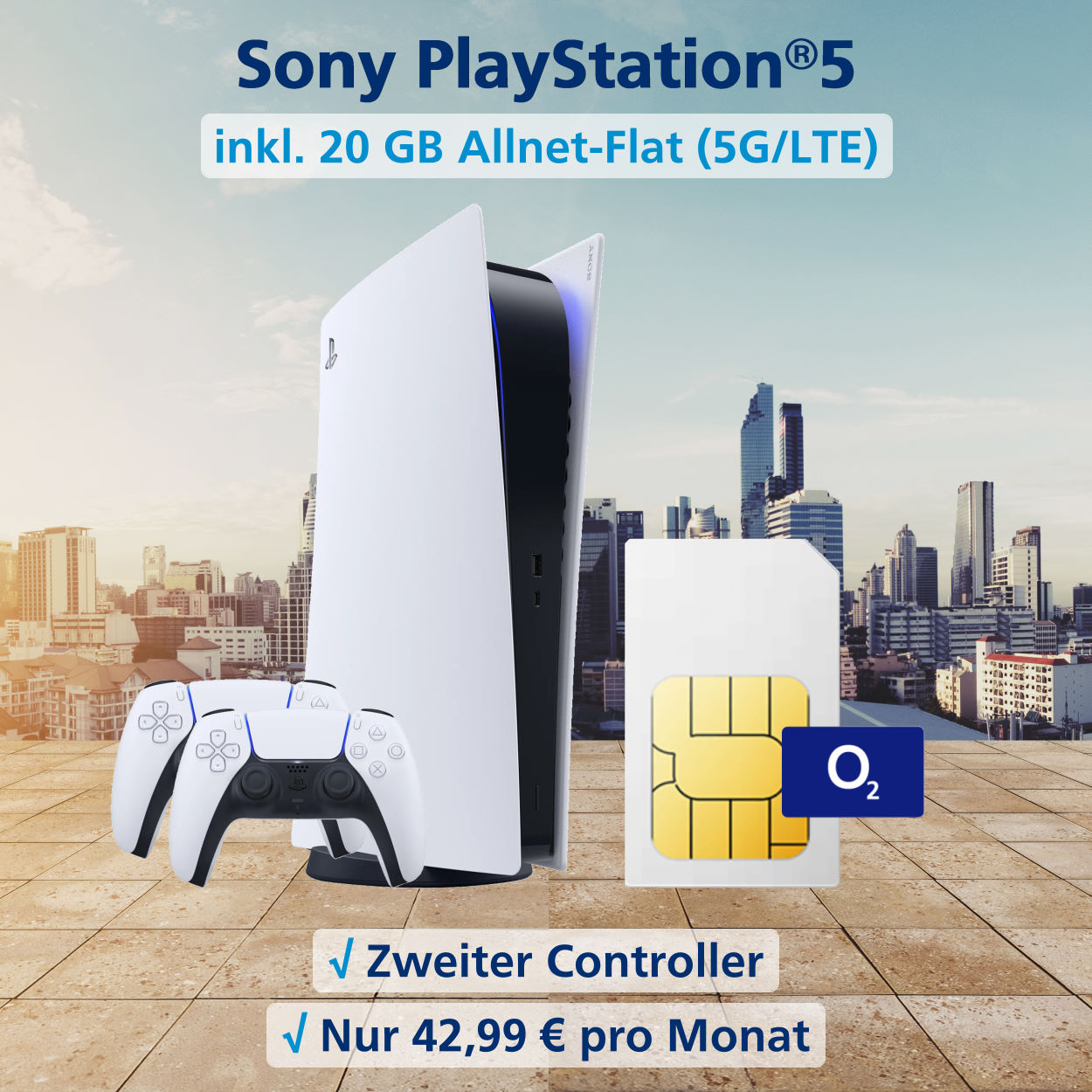 Playstation®5 mit zweitem Controller und 20 GB Allnet-Flat 5G-LTE zum Top-Preis
