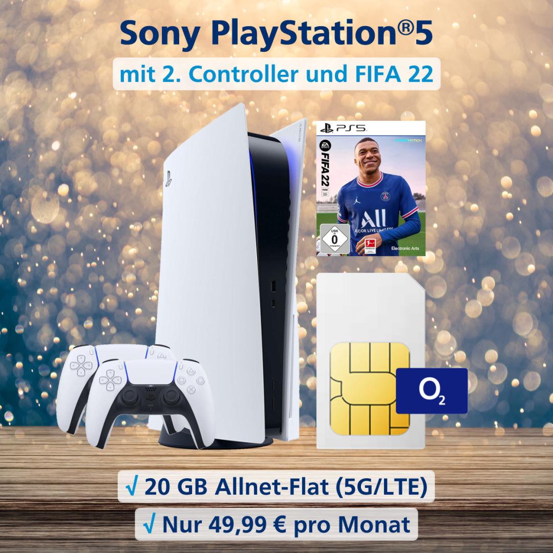 Playstation 5 Disc Edition inkl. zweitem Controller, Fifa 22 und 20 GB 5G-LTE Allnet-Flat
