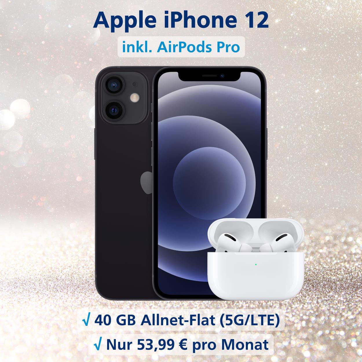iPhone 12 inkl. AirPods Pro und 40 GB Allnet-Flat 5G LTE Die besten Handytarife